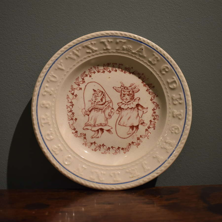 Rare Edwardian Alphabet plate with sign language