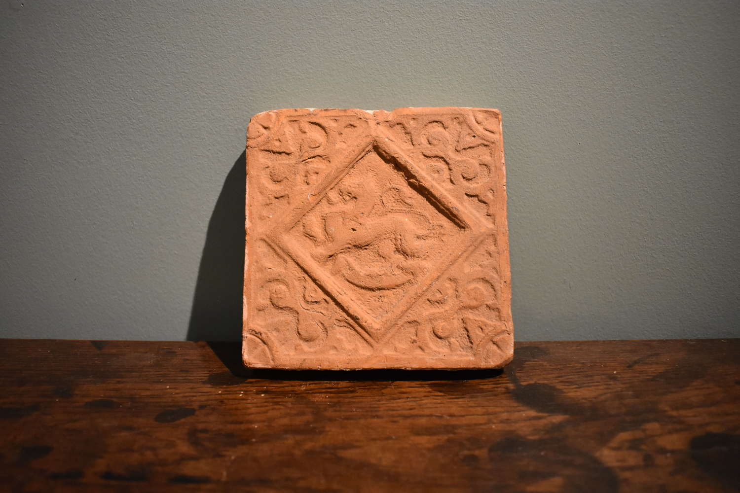 Tudor period Terracotta Tile with Mythical Beast Motif