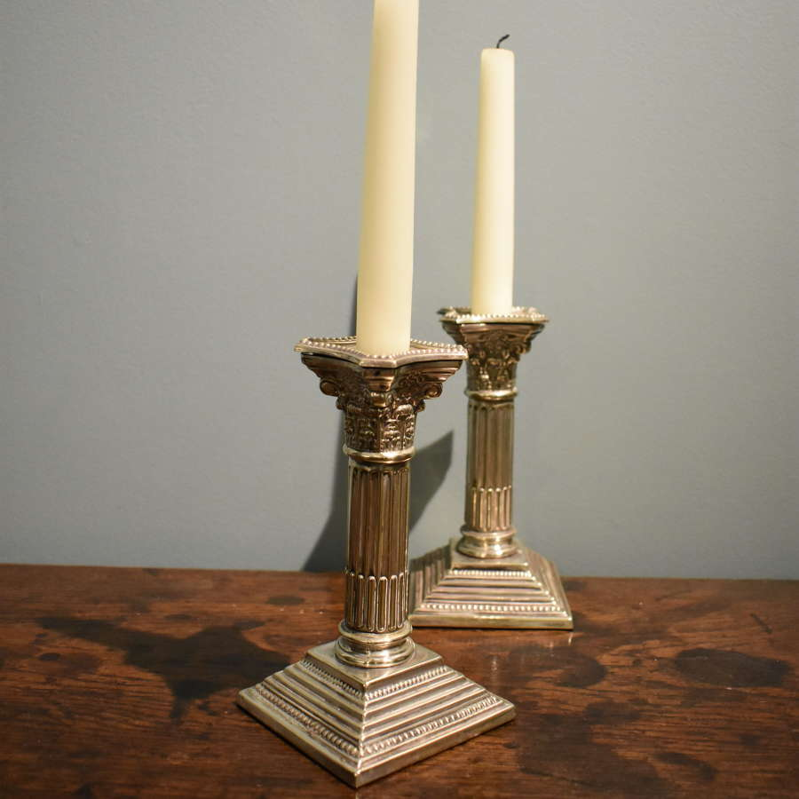 Pair of 19th c. Corinthian column Candlesticks in Sheffield plate