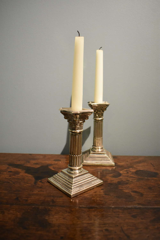 Pair of 19th c. Corinthian column Candlesticks in Sheffield plate
