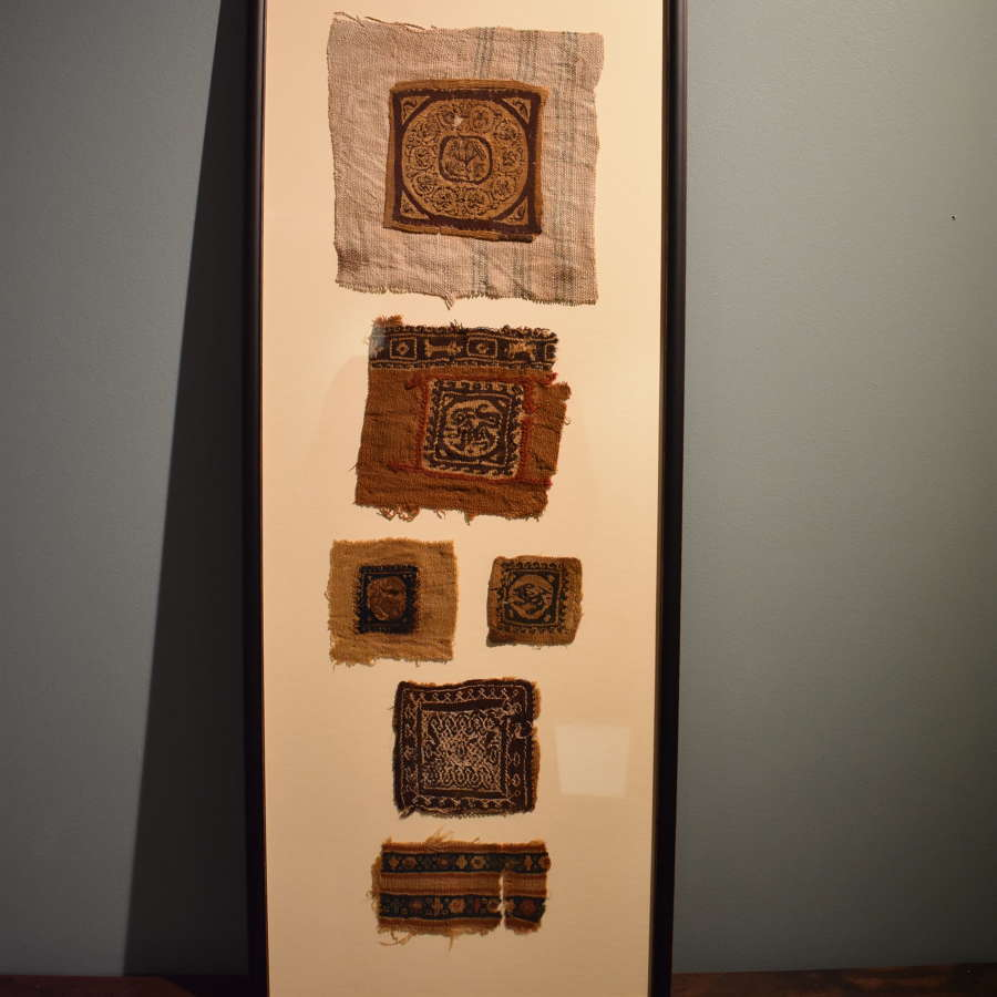 A group of 6 x 3rd-6th c. framed Coptic textile fragments