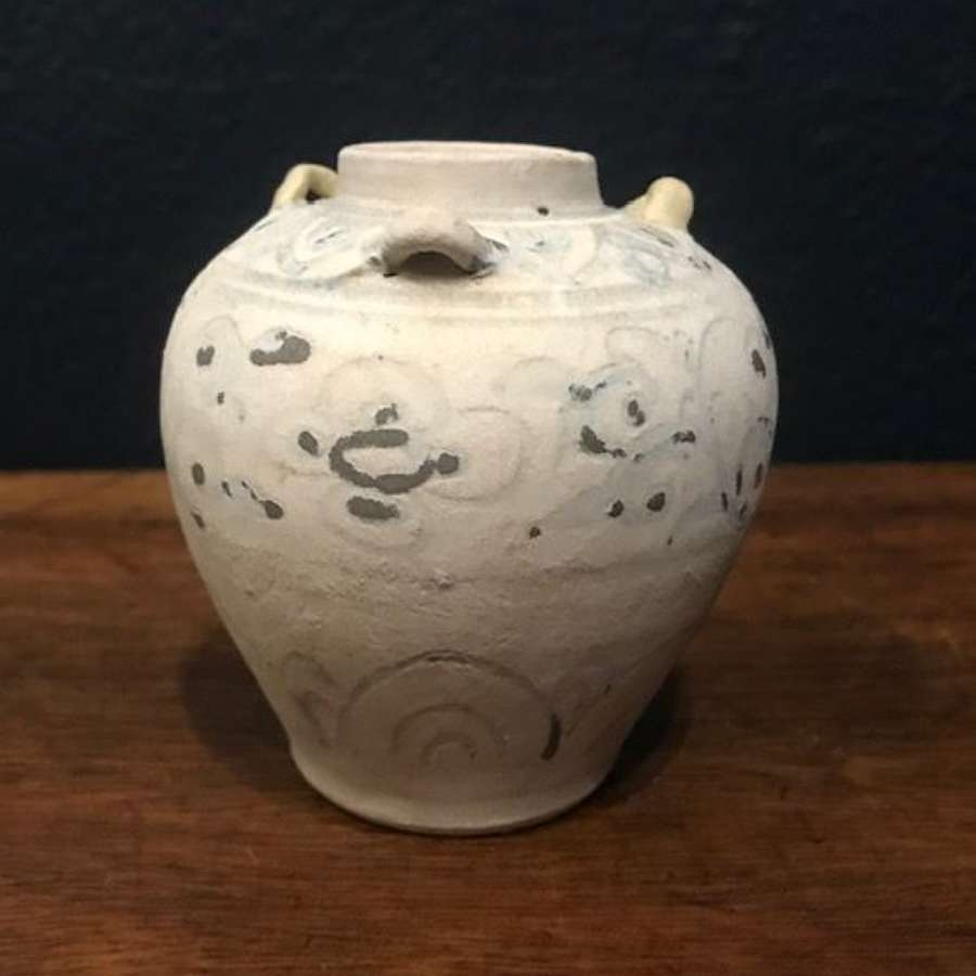 Rare 15th c. blue and white jarlet with handles - Hoi An Hoard