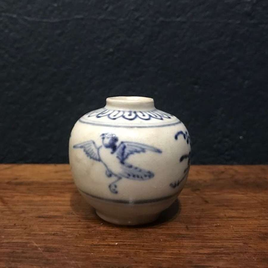 15th c. small blue and white jarlet with bird motifs