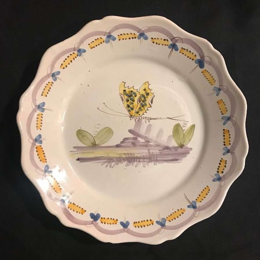 18th century French faience plate with Butterfly