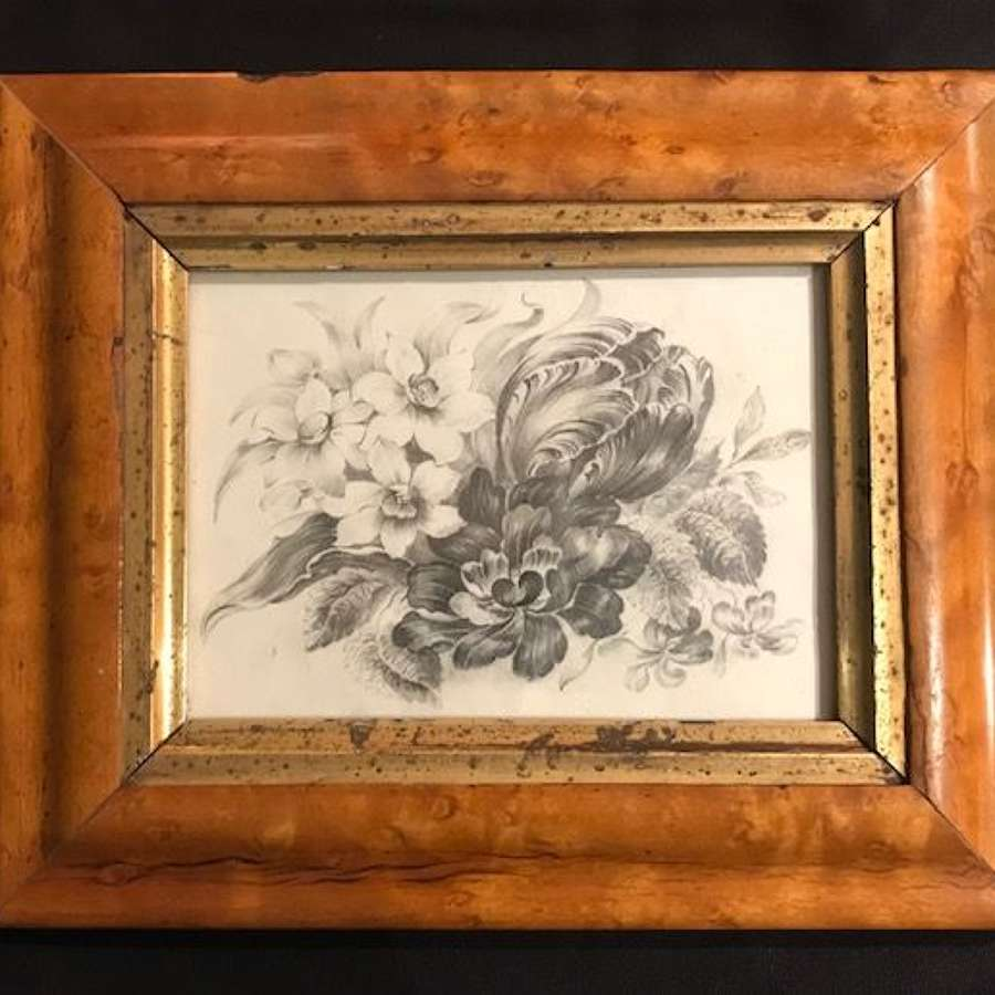 19th c. Monochrome floral pencil drawing