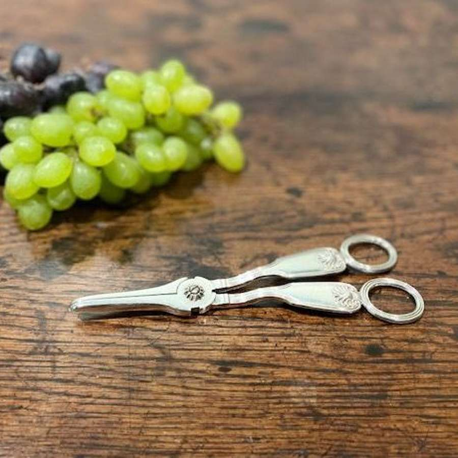 Pair of 19th century silver grape scissors