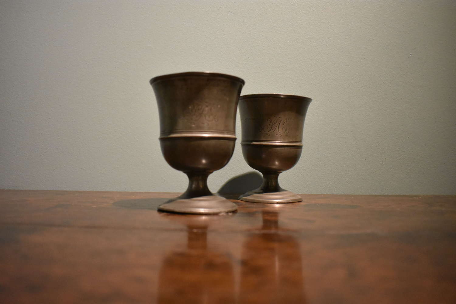 A pair of 19th century pewter goblets