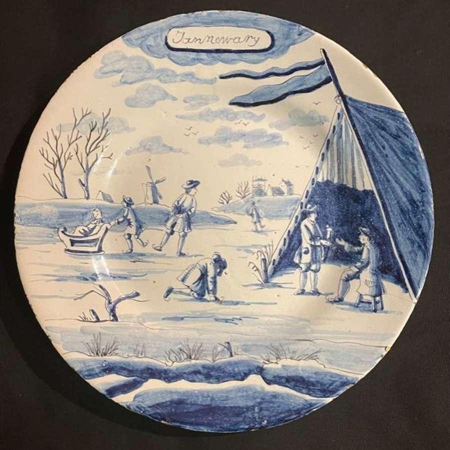 18th c. Dutch Delft blue and white Calendar Plate - 'Jannewary'