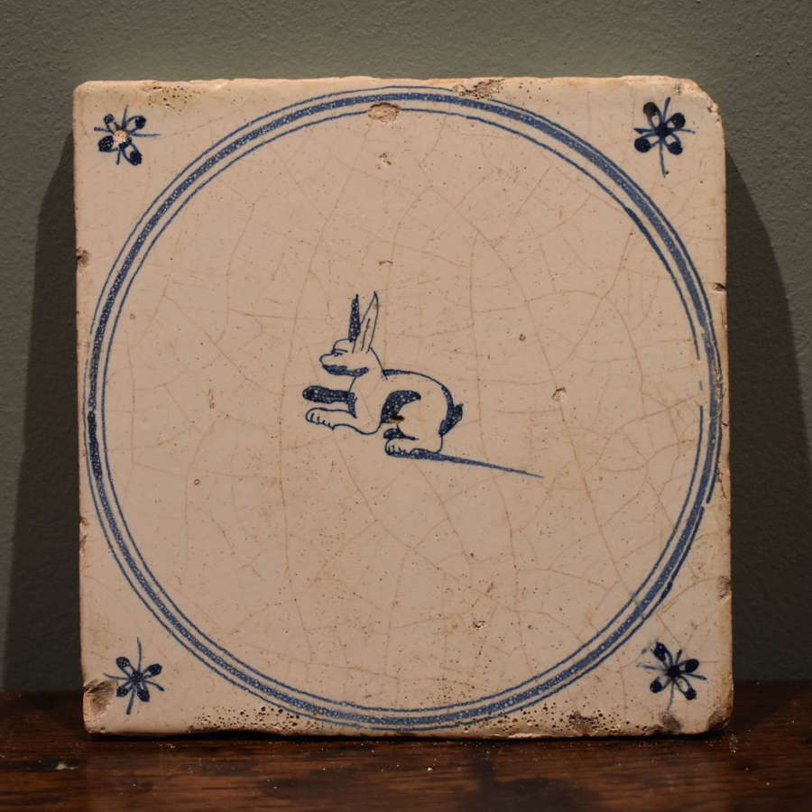 18th c. Dutch Delft blue and white tile