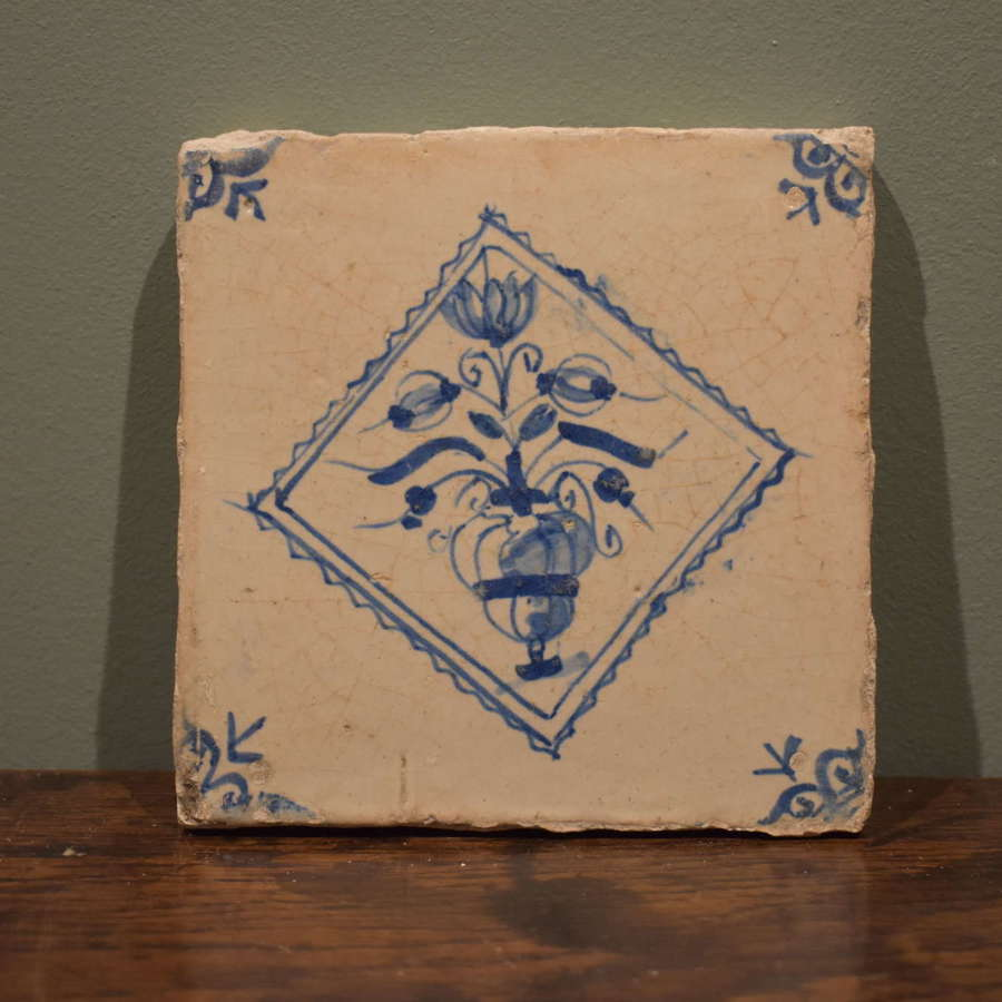 17th c. Dutch Delft tile with Vase of Flowers