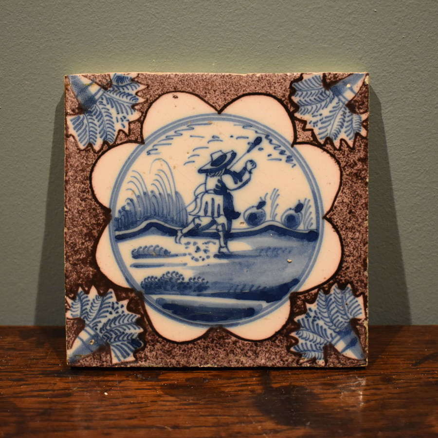 Mid 18th c. Dutch Delft tile - Shepherd