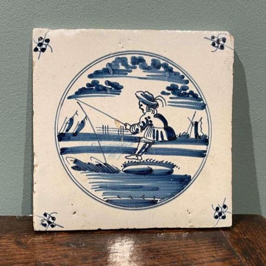 18th c. Dutch Delft tile - Fisherman