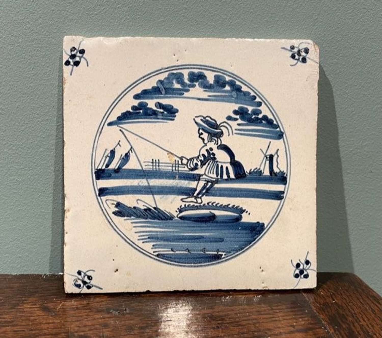 18th c. Dutch Delft tile - Fisherman