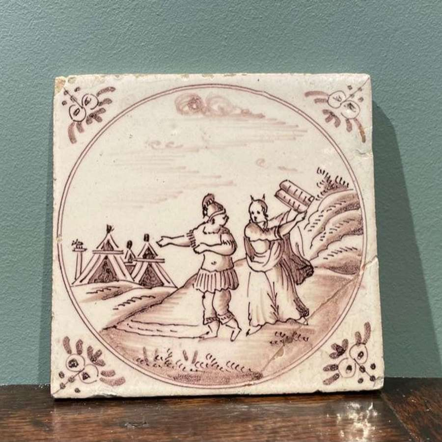Mid 18th c. Dutch Delft manganese tile - 'Moses'