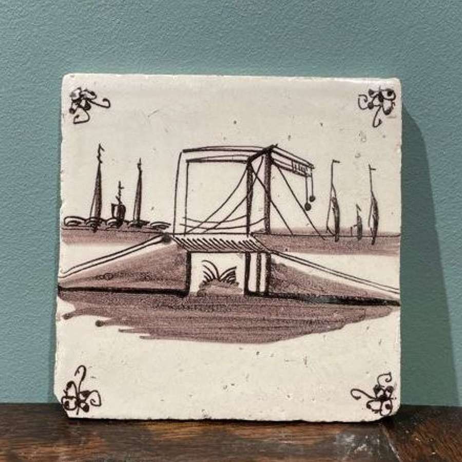 18th c. Dutch Delft manganese tile - Dutch Bridge