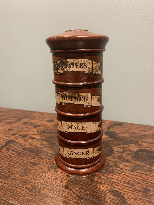 19th c. mahogany Spice tower