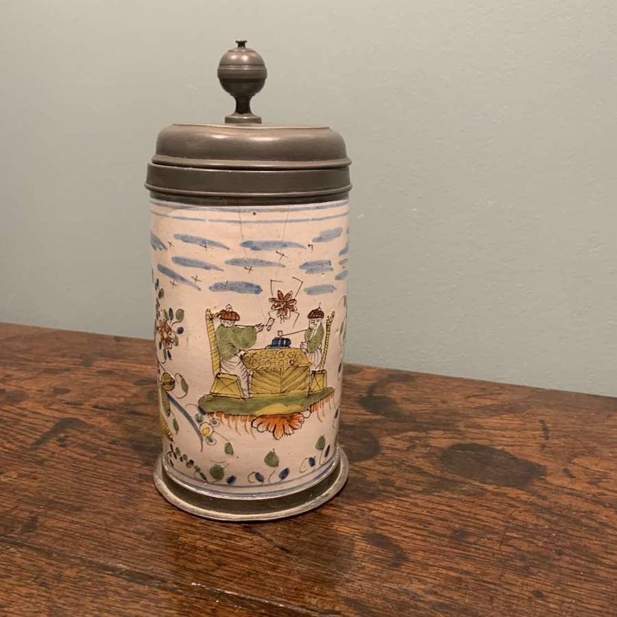 18th century Faience Stein with pewter mounts