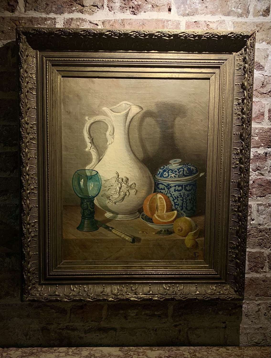 19th century framed oil painting - Still Life with ceramics and glass